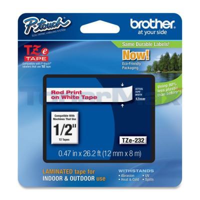 BROTHER TZ LAMINATED TAPE RED ON WHITE 0.47 IN X 26.2 FT